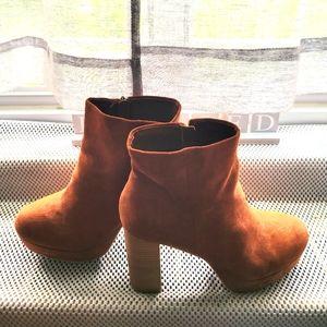Woman's Scoop Faux Suede Platform Heel Boots Brown